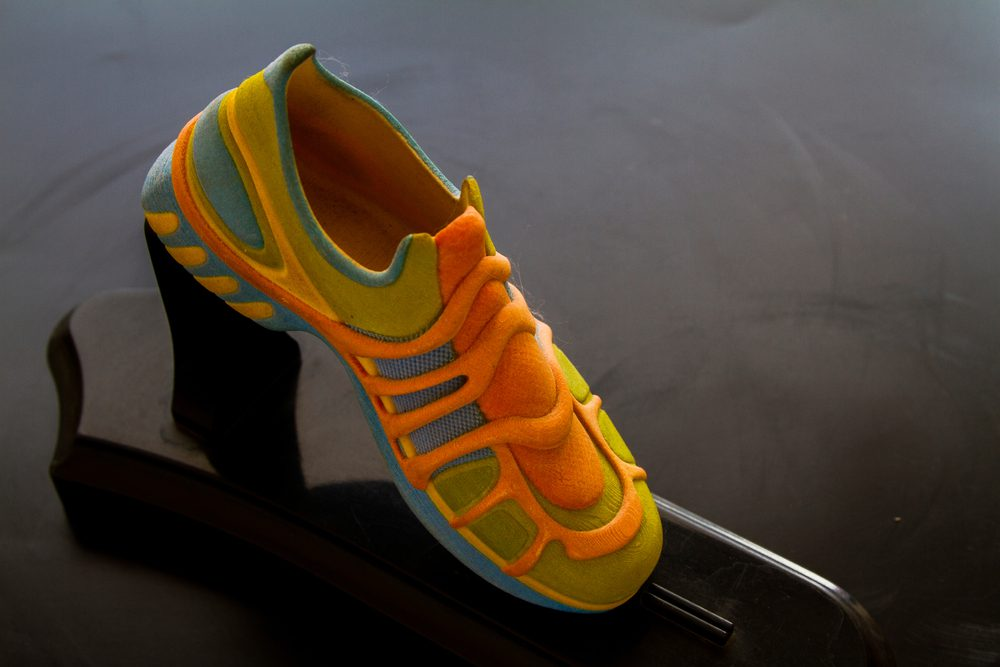 Close-up of 3D printed shoe