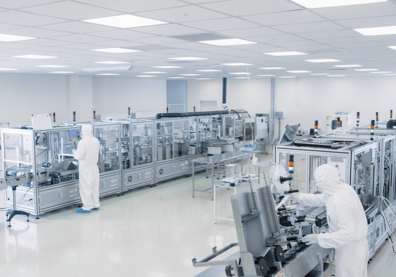 Sterile,High,Precision,Manufacturing,Laboratory,Where,Scientists,In,Protective,Coverall's